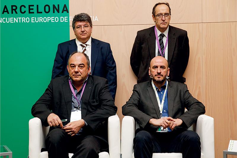 Francesc García Cuyàs, Carles Blay y, delante, Francesc Pla y Carlos Gallego