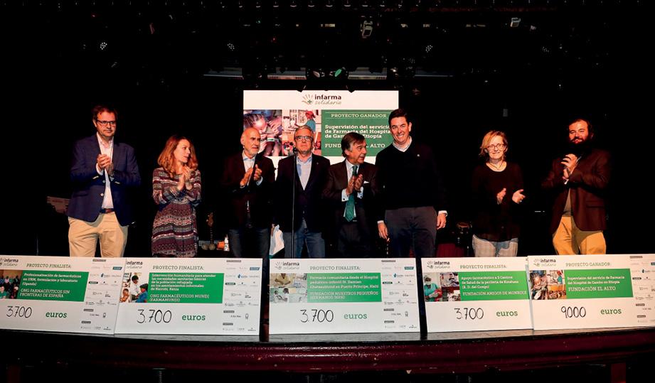 Fotografía conjunta del proyecto ganador y los cuatro proyectos finalistas de Infarma Solidario