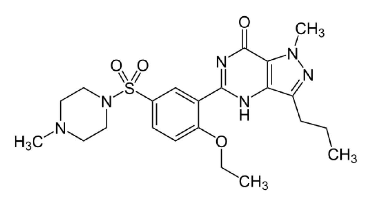 Figura 1. Molécula de sildenafilo (C22H30N6O4S)