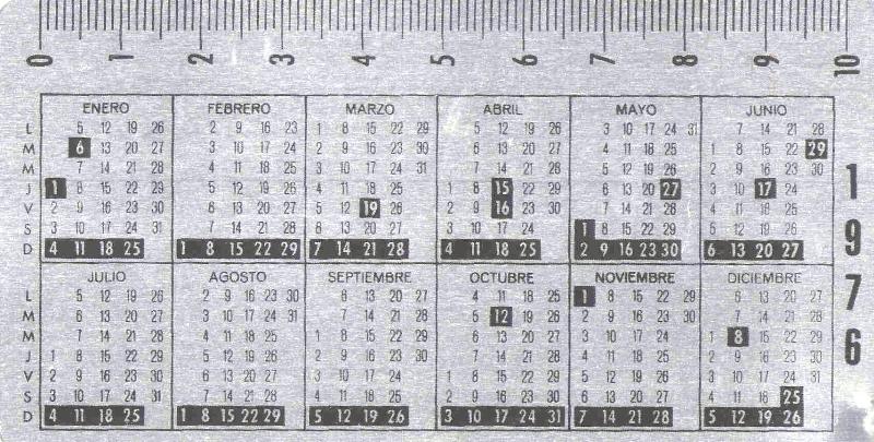 Calendario Julio 1976.Calendarios Farmaceuticos