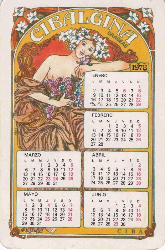 Calendario Enero 1978.Calendarios Farmaceuticos